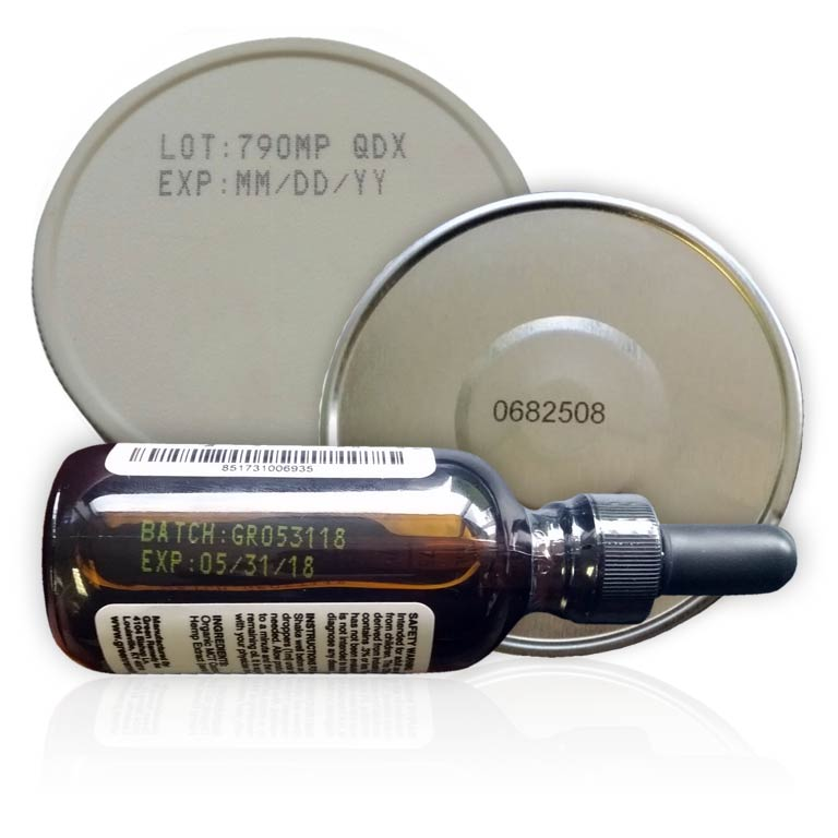 can caps and vials. handheld inkjet marking