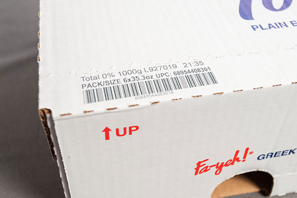 barcode printing on cardboard yogurt box